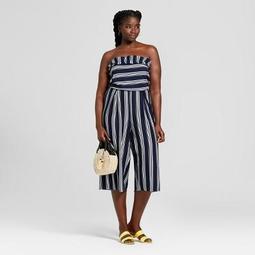 Women's Plus Size Striped Strapless Jumpsuit - Xhilaration™ Navy/Cream