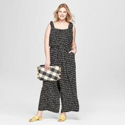 Women's Plus Size Printed Woven Jumpsuit - Ava & Viv™ Black