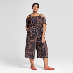 Women's Plus Size Printed Cold Shoulder Jumpsuit - Ava & Viv™ Black