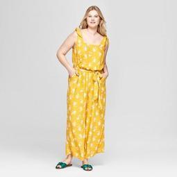 Women's Plus Size Floral Print Woven Jumpsuit - Ava & Viv™ Yellow
