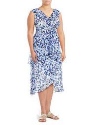 Plus Sleeveless Floral Midi Dress