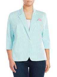 Plus Striped Seersucker Button Jacket