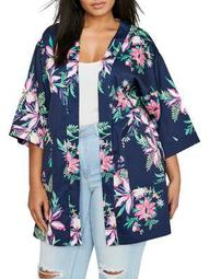 Plus Printed Quarter-Sleeve Kimono-Style Long Jacket