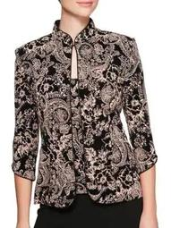 Plus Two-Piece Mandarin Collar Jacket and Printed Camisole