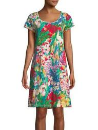 Plus Floral Short-Sleeve Nightgown