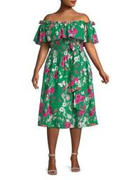 Plus Off-The-Shoulder Ruffled Floral Dress
