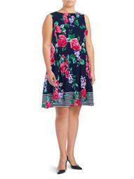 Plus Floral A-Line Dress