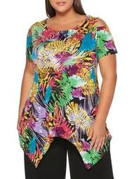 Plus Colored Palm Printed Tunic