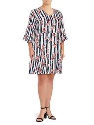 Plus Jordan Quarter-Sleeve Above-The-Knee Dress