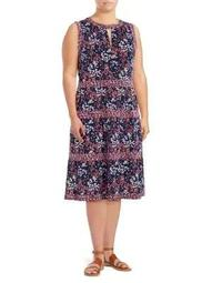 Plus Scattered Blooms A-Line Dress