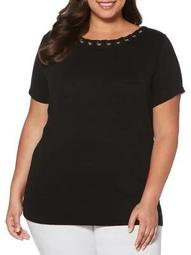 Plus Short-Sleeve Grommet Tee