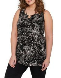 Plus Paisley Cut-Out Neckline Swing Top