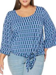 Plus Ikat Bell-Sleeve Tied Top