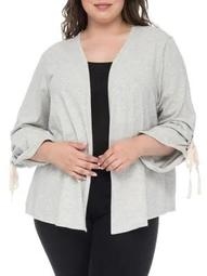 Plus Nia Ruched-Sleeve Cotton Cardigan