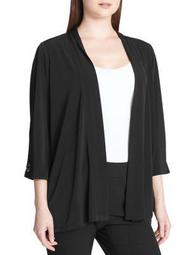 Plus Quarter-Sleeve Open Cardigan