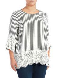 Plus Lace-Hem Striped Top