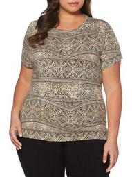 Plus Cracked Tile Short Sleeve Top
