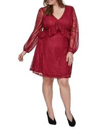 Plus Cascade-Ruffle Lace Dress