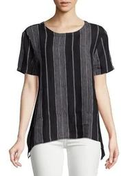 Plus Striped Linen Top