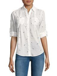 Petite Printed Button-Down Shirt