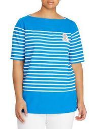 Plus Logo Striped Cotton Tee