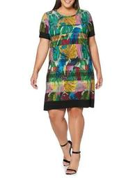 Plus Botanical-Print A-Line Dress