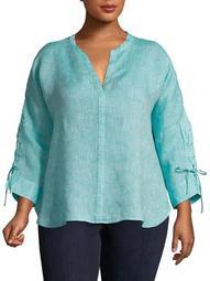 Plus Lace-Up Linen Top