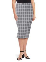 Plus Plaid Elongating Bodycon Skirt