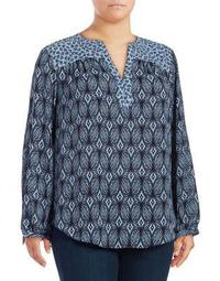 Plus Peasant Geometric-Print Top