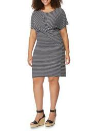 Plus Pointelle Twist Striped Dress