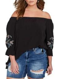 Plus Shirttail Off-Shoulder Boho Tunic
