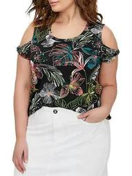 Plus Printed Cold-Shoulder Top
