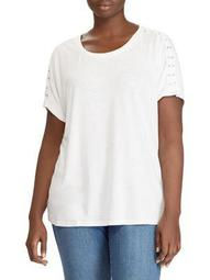 Plus Lace-Up Jersey Top