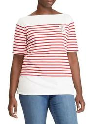 Plus Striped Boatneck Cotton Top