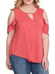 Plus Pearlina Cold-Shoulder Top