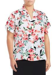 Plus Floral V-Neck Blouse