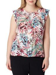 Plus Plus Printed Flutter Sleeve Blouse