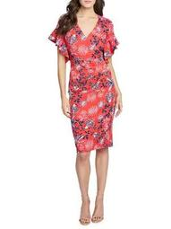 Plus Printed Ruffled Sheath Dress