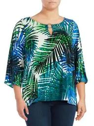 Plus Printed Three-Quarter Sleeve Top