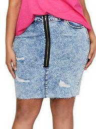 Plus Distressed Denim Skirt
