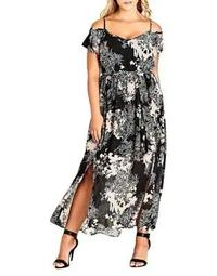 Plus Shadow Floral Maxi Dress