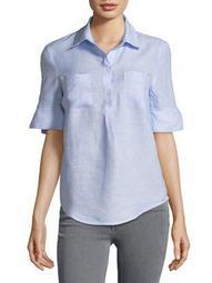 Plus Linen Bell-Sleeve Utility Shirt