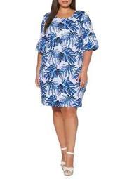 Plus Tropical Leaf Shift Dress