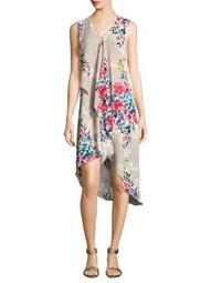 Printed Asymmetric Shirt Dress