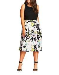 Plus Sleeveless Floral-Print Dress