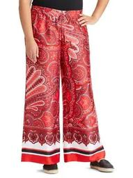 Plus Paisley Twill Wide-Leg Pants