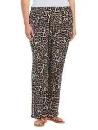 Plus Leopard-Print Neutral Pants