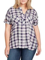 Plus Lydia Plaid-Print Top