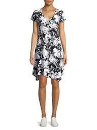 Plus Printed Asymmetric Shift Dress