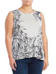 Plus Floral Printed Sleeveless Top